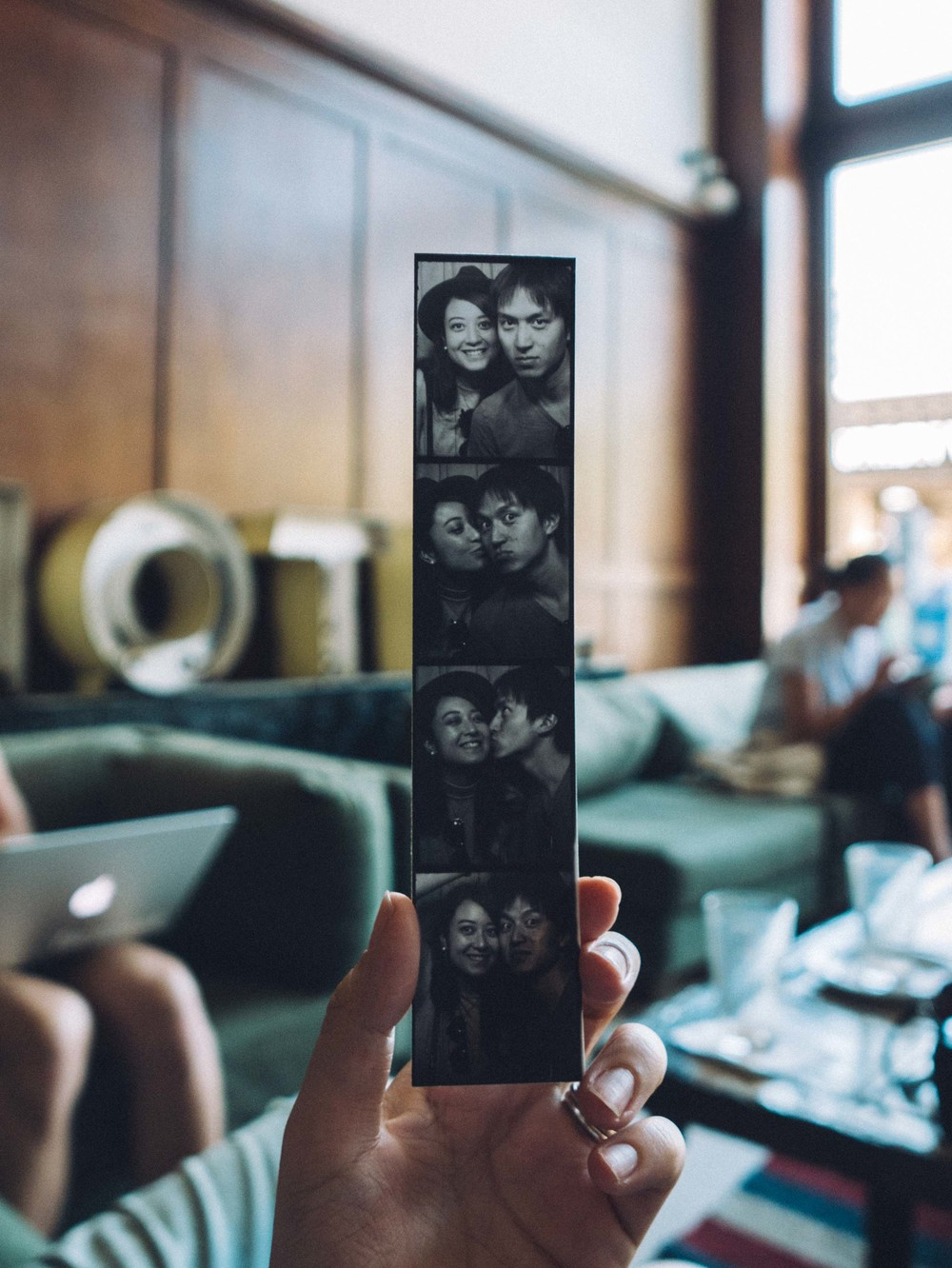 Take a retro photobooth photo in the Ace Hotel Portland lobby