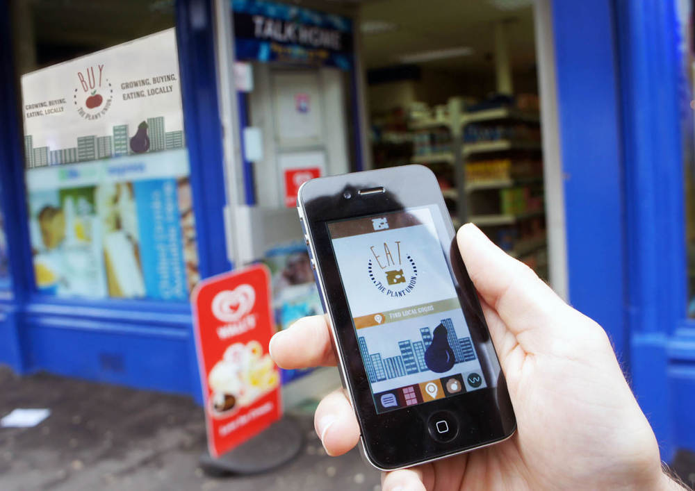 "Using mobile application to find ""The Plant Union"" in your local corner shop and seeing what is available."