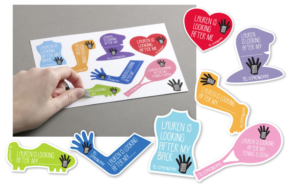 Sticker sheets were designed as a fun promotional tool to give to current clients to wear after they had seen Lauren as a way of free advertising, or as leave behinds in gyms and doctors surgeries.