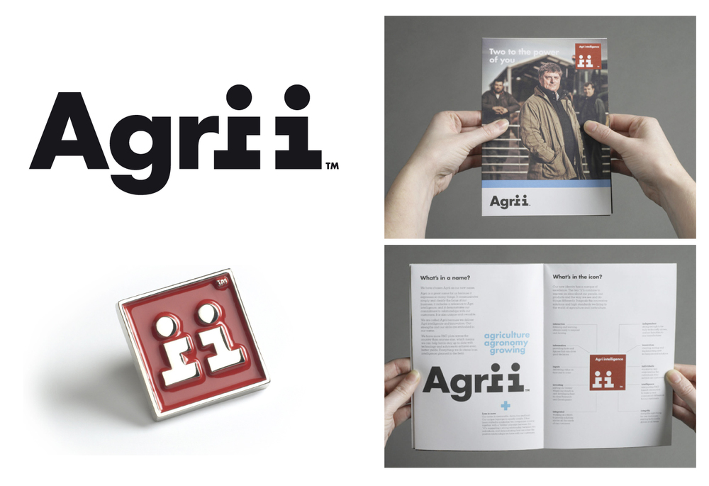 The Agrii marque makes clever use of the negative space with the two 'ii''s. This then gets pulled out and used as an independent identifier. Introductory materials were produced to introduce the merger to the exisiting employees.
