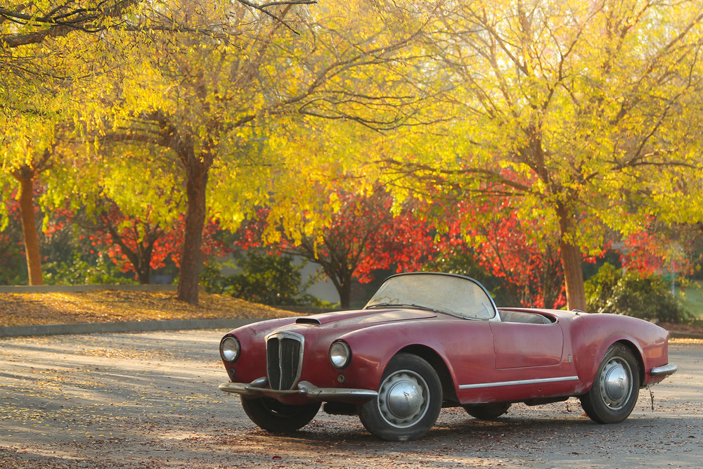 "1956 Lancia B24S Spider America, a highly original ""barn find"" sold by Gooding & Company in January for $803,000. (image courtesy Gooding & Company)"