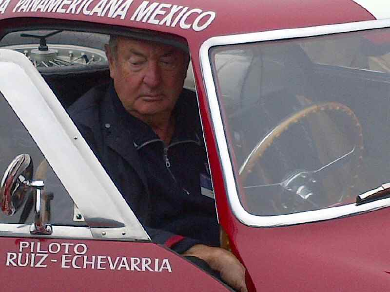 Nick Mason, drummer for Pink Floyd, at the wheel of his Ferrari 250 MM Panamericana