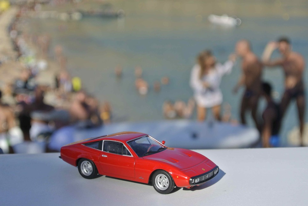 Ferrari 365 GTC/4 joins the party in Mykonos, Greece