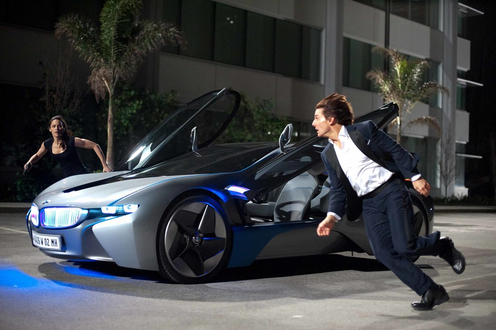 "Tom Cruise, Paula Patton and the BMW i8 (nee Vision Efficient Dynamics) in ""Mission: Impossible-Ghost Protocol"""