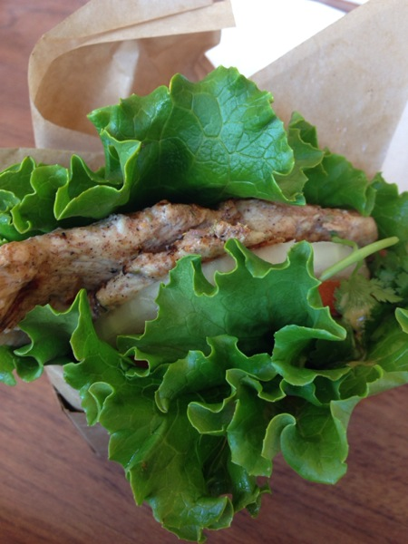A Chicken Sandwich with a lettuce wrap from Larkburger. It's mom's favorite place to eat!