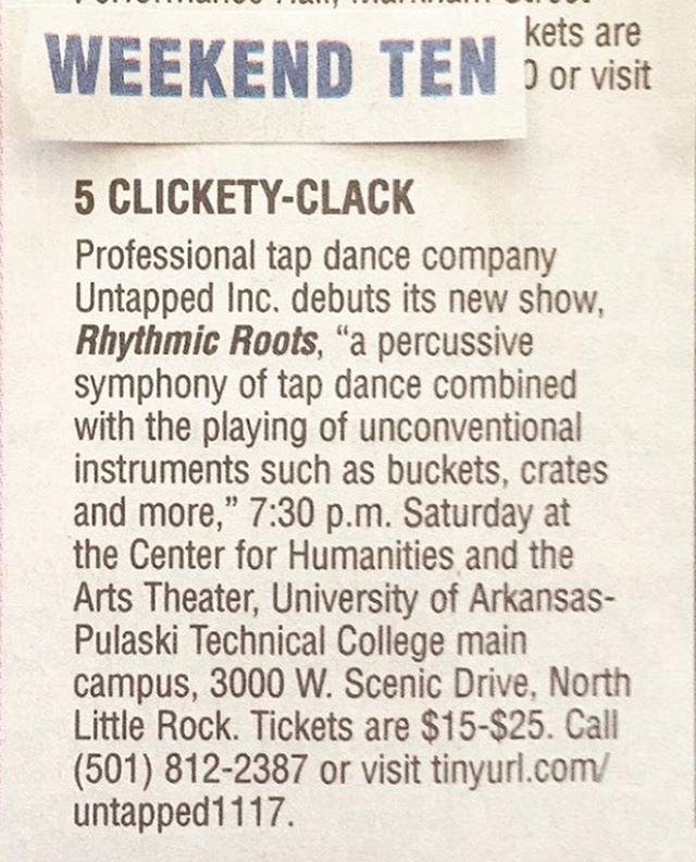 Thanks to @arkansasonline for the mention in this week's Weekend Ten! We hope you'll join us for Rhythmic Roots this Saturday night!