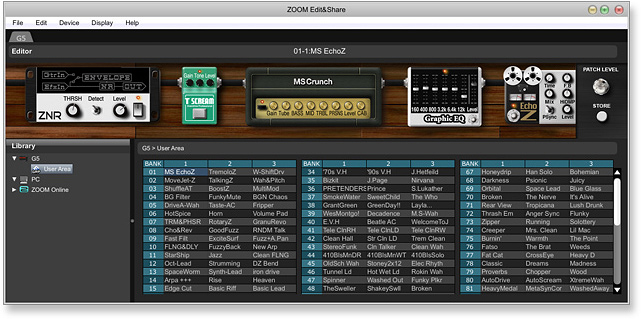Screenshot of Edit & Go Software Connected to Zoom G5 for Guitar