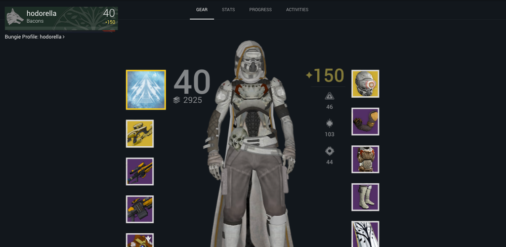 "My Bungie Character profile WHY I'M PROUD OF THIS: I realized my career shouldn't be a ladder that I climb. I quit my job at Venables Bell & Partners and played Destiny for three months. This is a snapshot to my three characters that I leveled up. In this time, I also met, and created, a clan called ""Bacons"" (ha) with people that I'm still friends with today. More importantly, during this time I realized that learning from the world outside of advertising is just as important as inside."