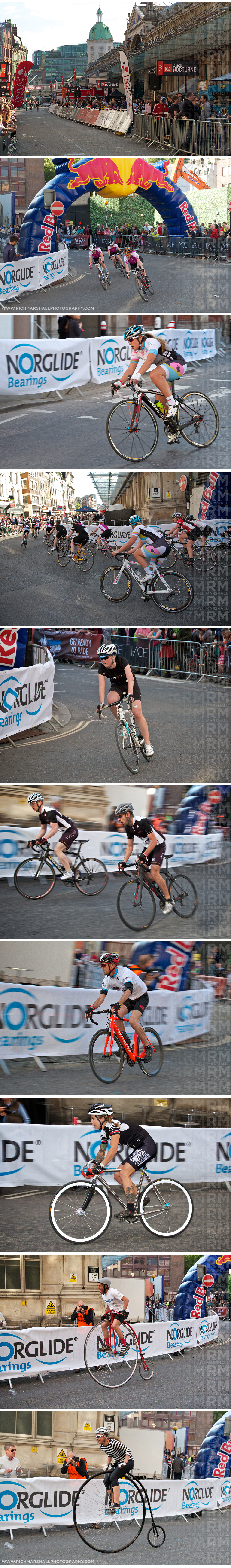Women's and men's amateur, fixed gear and penny farthing races.