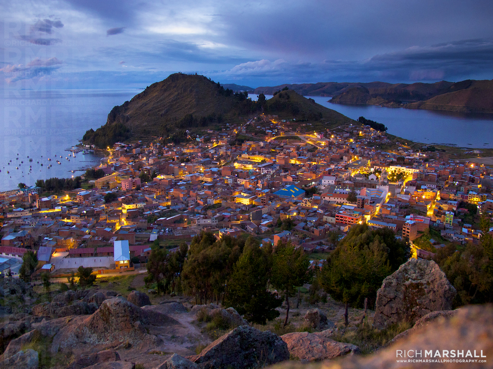 Copacabana at dusk, Bolivia