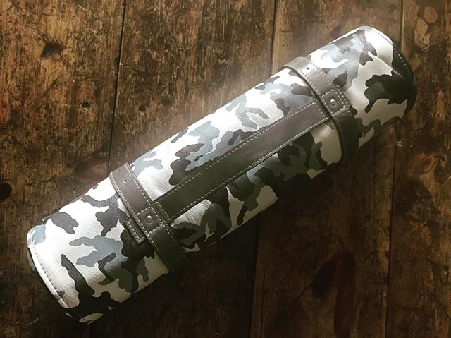 The first #bluntroll knife roll.  A custom job in super soft arctic camo leather.  Knife rolls up on the site soon, but this one was a special order for the very patient @chefbrodismuise  Enjoy chef.