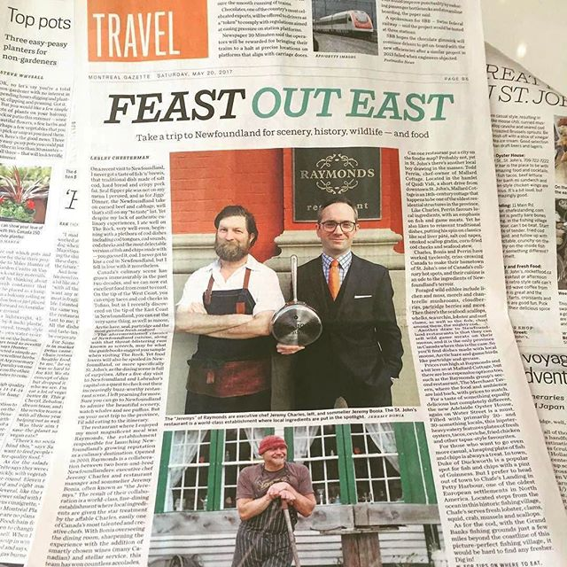 "#Repost @lesleychestrman ""Oh! How nice to see my travel story in the paper today featuring the great chefs of St-John's! Go to Newfoundland people! ❤️❤️👍👍"" Hear here. BK"