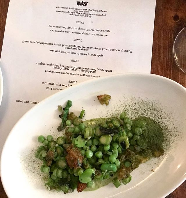 Best veggies ever @hughacheson @matthewpalmerlee  Heaven wants to know how you cook your peas, faves and asparagus... green goddess style. Thank you chefs. . @beasttoronto @scottvivian @ja_poon @gnocchininja @restingputoface
