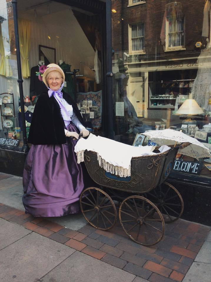 Chris Horn with her victorian pram