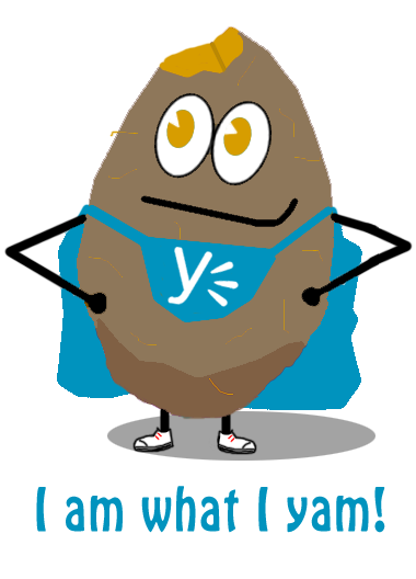 Yamms, the Yammer yam.  Image courtesy of Libby Cooper and Mike McGowan