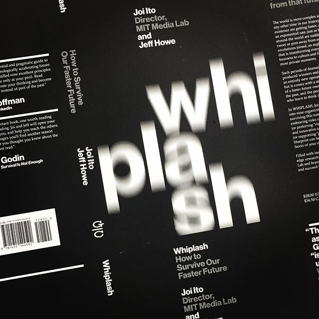 Straight from the printer, it's the cover of upcoming game-changer WHIPLASH by @mitmedialab director Jodi Ito and Jeff Howe! Cover and interior design by @pentagramdesign - out 12/6 • • • • #bookstagram #bookshelf #technology #books #future #innovation