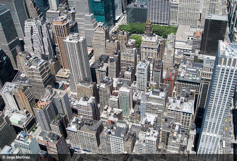 Vista desde el mirador del Empire State hacia Mid Town Manhattan.