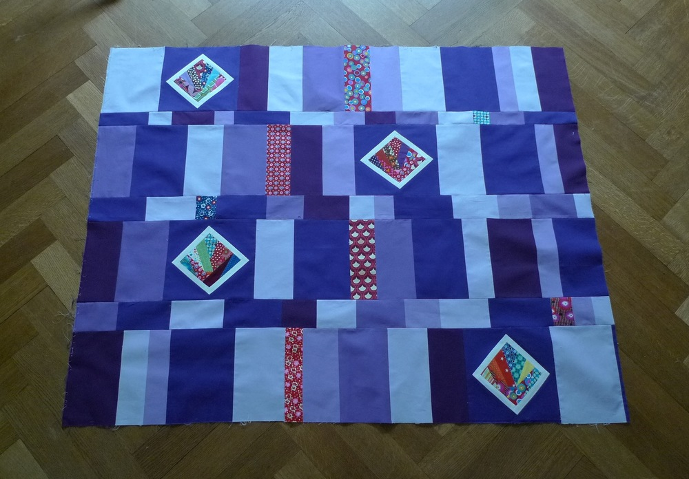 Improvised quilt using paper pieced blocks (Nov 2013)