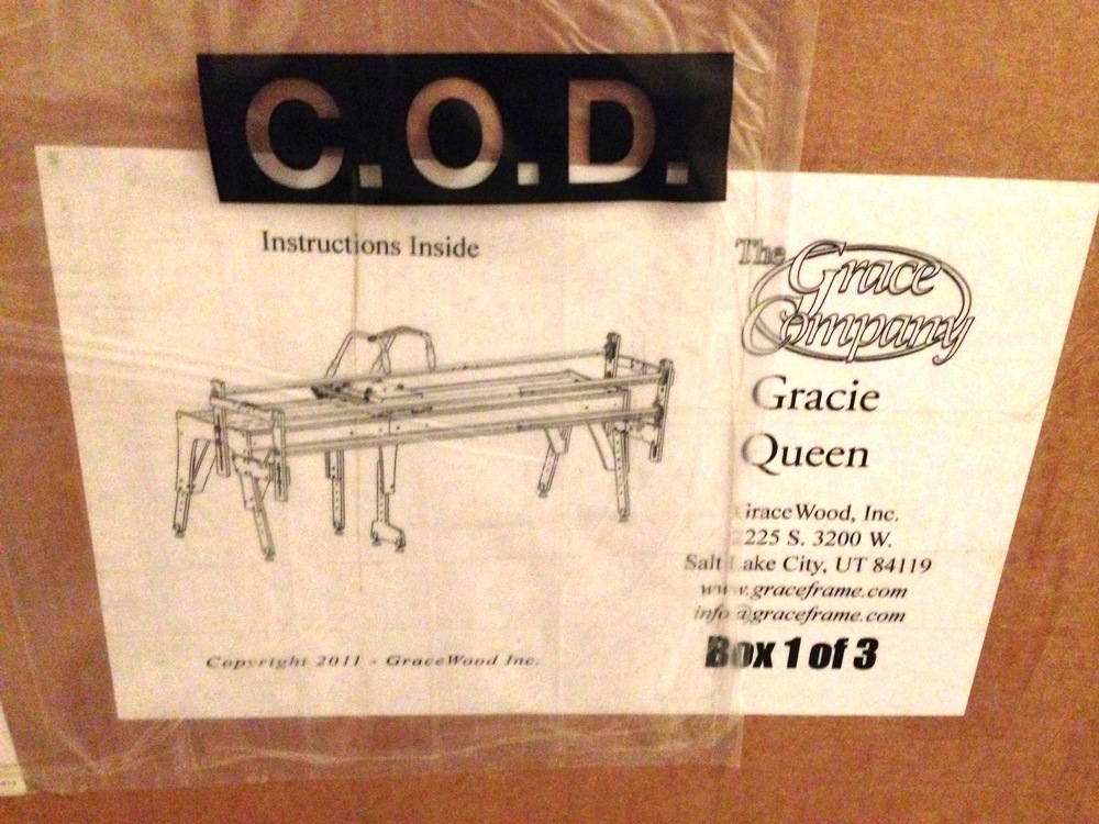 One of the boxes containing the parts for the Gracie Queen frame (Dec 2013)