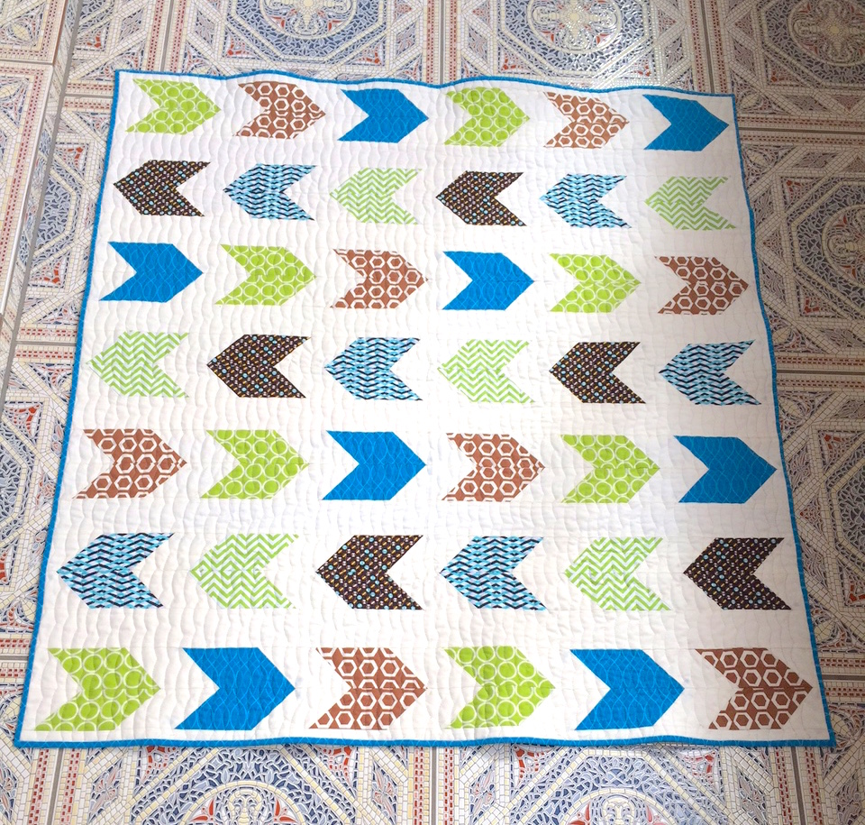 This is the front of the quilt. The white is Kona Snow (of course!)