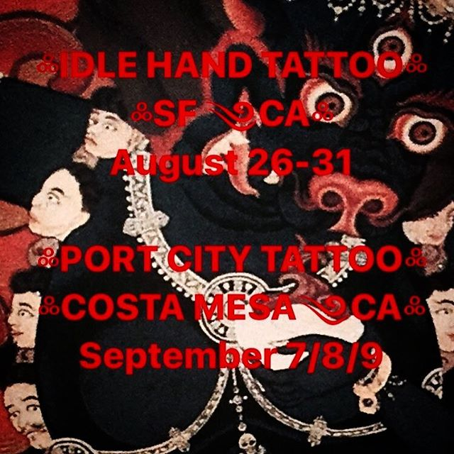 I will be working at Idle Hand Tattoo & Port City Tattoo in Costa Mesa EMAIL jasontgrace@gmail.com or text +50670473492 for appointments. Limited space available. 🤙🏻@portcitytattooca @idlehandsf