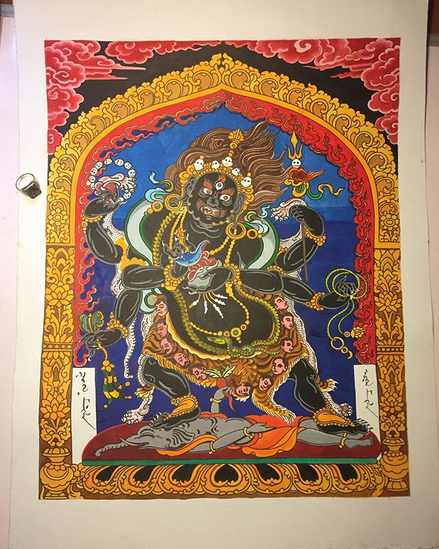 Getting closer on this mahakala painting.