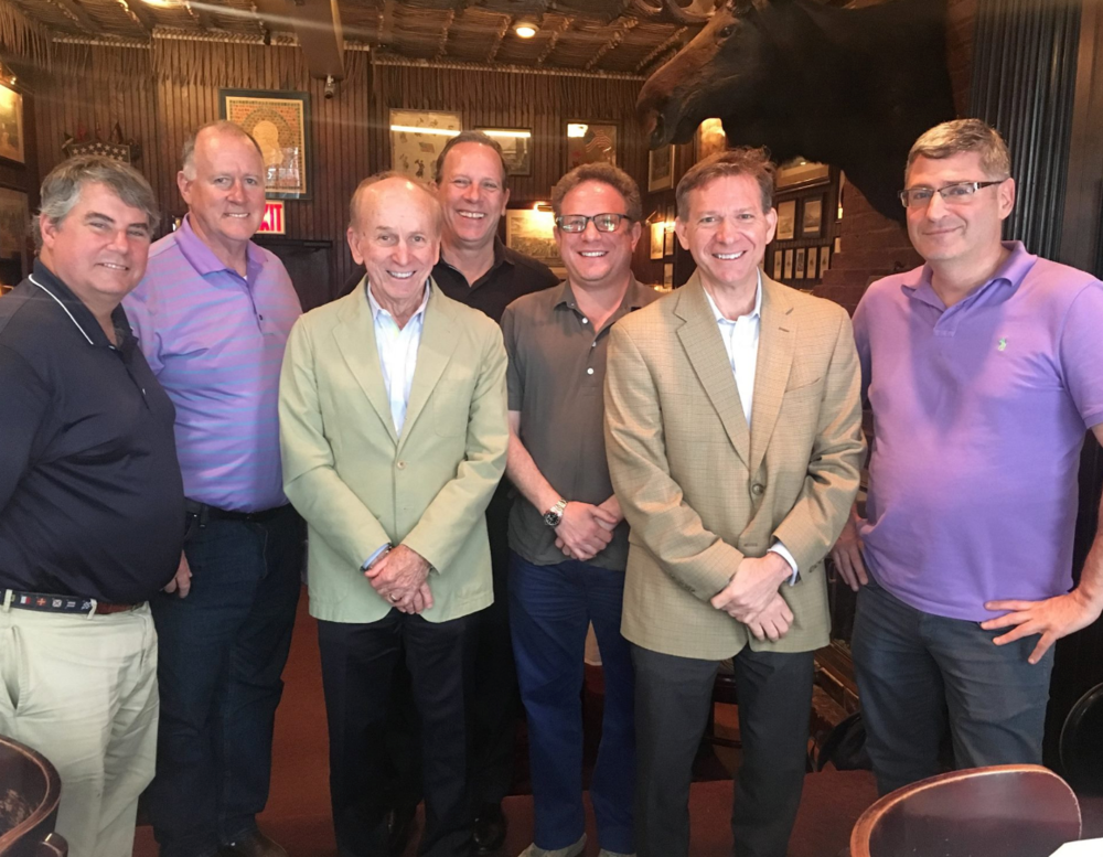 Prominent New York Yankees beat writer Pete Caldera of  The Record  (second from right) and former  New York Times  sports editor Neil Amdur (third from left)