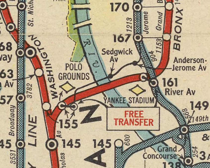 The Polo Grounds in Manhattan is shown on this 1951 New York City subway map and in the adjacent footage shot from the Bronx. The venue, whichserved as home to many sports events and to professional baseball's New York Giants, New York Yankees and New York Mets and professional football's New York Giants, New York Titans and New York Jets, was demolished in 1964. Yankee Stadium is also included on this part of the map.
