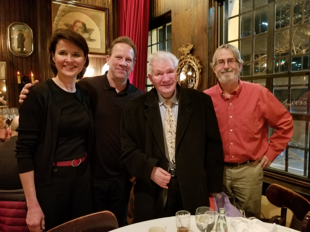 On occasion, special guests from New York sports history join the Keens hosts and other guests on the tour and at the post-tour meal. Emmy Award-winning blind sports broadcaster Ed Lucas (second from right) poses with a fellow guest and two New York Sports Tours officials in Keens during a sold-out tour experience. Lucas is   the subject of the Jeter Publishing book  Seeing Home: The Ed Lucas Story  and each tour guest received a complimentary copy of the book.