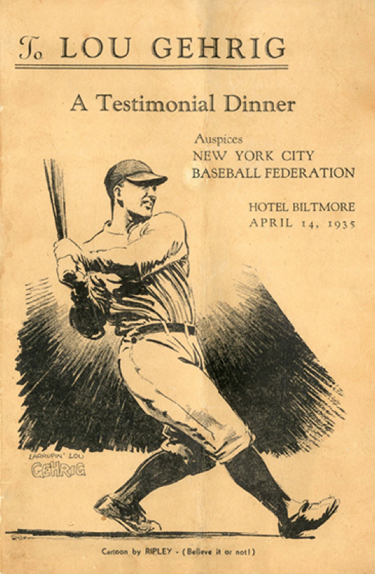 "Ripley's drawing on the cover of the dinner program carried a ""Believe it or not!"" tag."