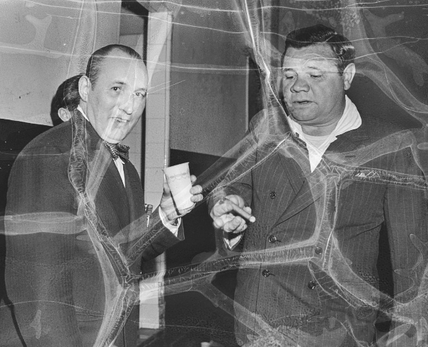 Robert Ripley (left) and New York Yankees legend Babe Ruth attend a Believe It or Not promotional event in Madison Square Garden on May 9, 1939.