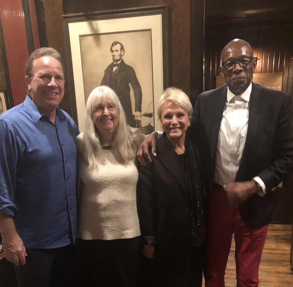 Melissa Ludtke (in white) with New York Sports Tours' Kevin O'Keefe (left) and two tour guests, actress Christine De Lisle and television host Jon Haggins, in Keens' storied Lincoln Room