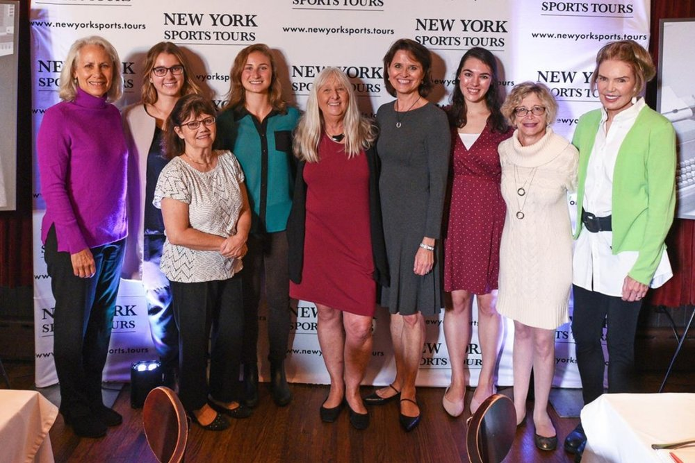 Left to right: Lynn Povich, the first female senior editor at  Newsweek  and daughter of legendary sports columnist Shirley Povich; CBS Sports staff writer Katherine Acquavella; Lawrie Mifflin, the first female sportswriter at the  New York Daily News ;  The Athletic  associate editor Hannah Withiam; former  Sports Illustrated  reporter Melissa Ludtke; New York Sports Tours' Kathy Paprocki;  Sports Illustrated  staff writer Emma Baccellieri; Erika Weitzner Freed, a former sportswriter for the  New Brunswick (New Jersey) Home New s; and CBS Sports' Lesley Visser