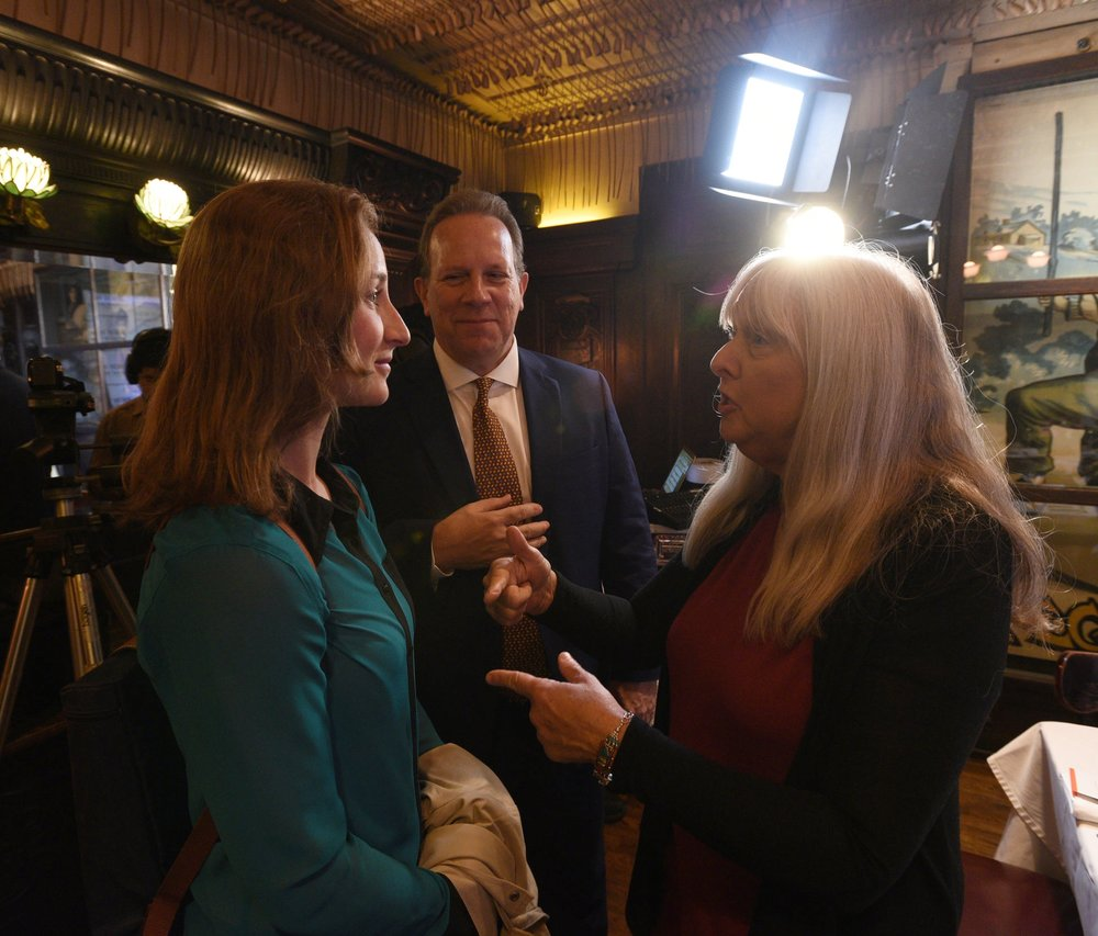 The Athletic 's Hannah Withiam (left) with Kevin O'Keefe and Melissa Ludtke in Keens' Lillie Langtry Room