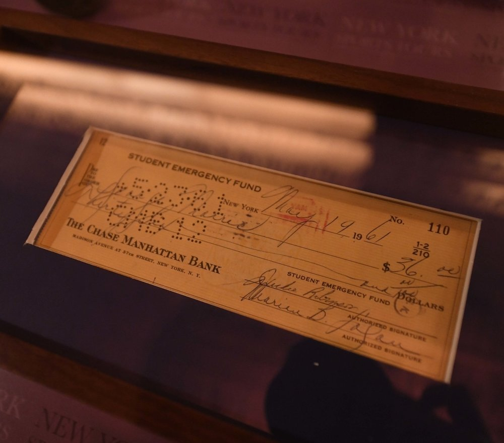 "Among the historical items shown to tour guests is this check from the Student Emergency Fund signed by Jackie Robinson and Marian Logan. Robinson broke Major League Baseball's color barrier in 1947 when he played for the Brooklyn Dodgers. More than a decade later, Rev. Dr. Martin Luther King Jr. declared, ""Jackie Robinson is the founder of the civil rights movement."" In 1960, Robinson and Logan, an associate of Dr. King, started the Student Emergency Fund to help jailed and other students who were protesting segregation in the South."