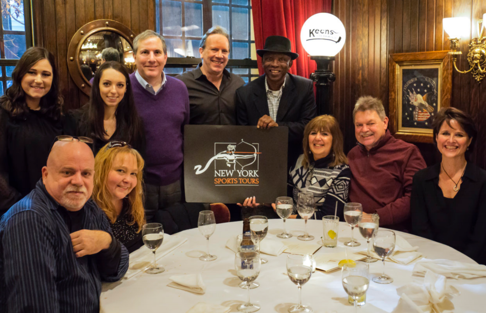Post-tour dinner hosts have included New York Yankees great Mickey Rivers (in hat)