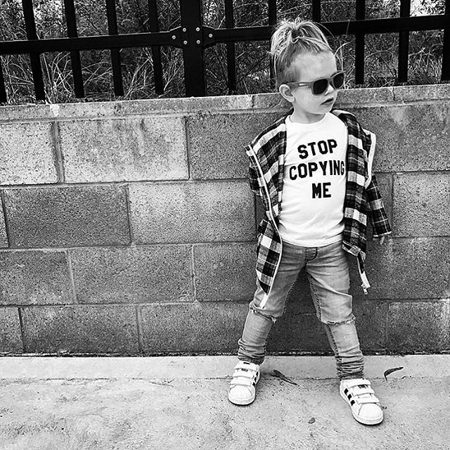 ➕STOP COPYING ME➕ Could the message be any more clear? 👀😂 Loving this ultra rad shot of @sneaky_andthe_tbird in her Baby Beast 'Stop Copying Me' tee (purchased from our official Australian/NZ stockist, @heylittle_store). 🙌🏼 As always, supersoft and made with love in LA. #babybeast #lilhomme #beastmode #microfashion #madeinla #americanmade #dtla #hypebeast #hypebeastkids #highsnobiety #lilsnob #minilicious #complexmag #streetstyle #streetnotoriety #streetfashion #hipkidfashion #kidzootd #trendykiddies #ethicallymade #monochrome  #streetwear #monochrome_kids #kidsstyle