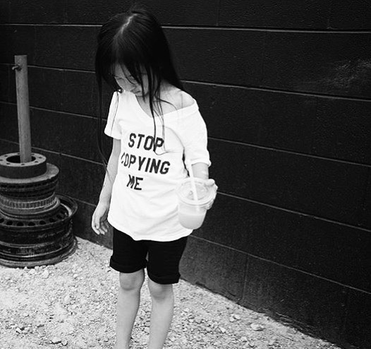 ➕STOP COPYING ME➕ With a rad style like @paris.eiffel.pang's, we're sure she'll need to rock her Baby Beast #StopCopyingMe tee (in an online exclusive v-neck) often to get the message out. 😉🙌🏼 Paris has been with Baby Beast since the very beginning as our first model (along with OG #LilHomme Jax), and it's been so rad watching her grow and wear our gear along the way. She is also rocking our striped harem shorts- proof that our gender neutral basics are essential for every kid! As always, supersoft and made with love in LA. 🖤 #babybeast #lilhomme #beastmode #microfashion #madeinla #americanmade #dtla #hypebeast #hypebeastkids #highsnobiety #lilsnob #minilicious #complexmag #streetstyle #streetnotoriety #streetfashion #hipkidfashion #kidzootd #trendykiddies #ethicallymade #monochrome  #streetwear #monochrome_kids #kidsstyle #detroit #detroitmichigan #puremichigan #puremitten