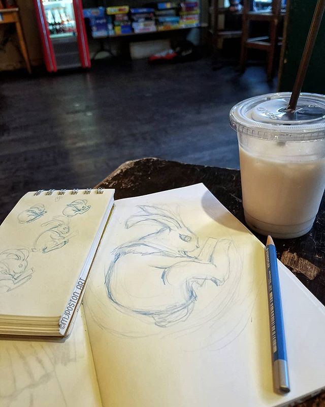 I had a chance to do a larger version of my #ebbogospels inspired #drawingbunny this weekend, so far so good . . . #inspirations #coffee #noactuallyitaliansoda #belltown #lategram  #pnwcreatives #mjposton_art #illistratorsofinstagram #instaart #art #illustration #sketch #artprocess #cafe #bedlamcafe #bunny #rabbit #rabbitsofinstagram