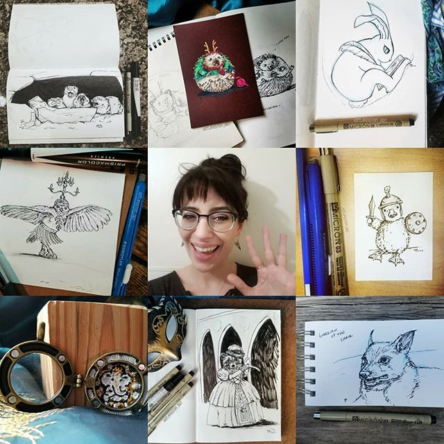 #artvsartist I enjoy Insta trends like this. Mostly I've been using ink lately yet when I dip into color I enjoy the results, maybe that's a clue to myself to do that a little more 🖌 . . .  #pnwcreatives #mjposton_art #illistratorsofinstagram #instaart #art #illustration #ink #blackandwhiteart #instatrend #selfie #animalart