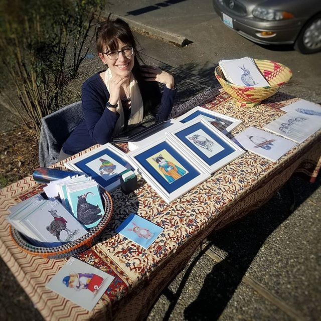 Fun times at the pop up market with @sankara_imports @faesings @urbanutopiaphotography and @the_neverending_bookshop . . . #pnwcreatives #mjposton_art #illistratorsofinstagram #instaart #art #illustration #gift #shopsmall #artgift #supportart  #popup