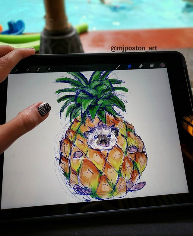 Putting technology to use and allowing myself to play with a really silly idea..... a pineapple hedgehog 🍍🦔 because for some reason that's a perfectly logical combination to me 😉 🍍 🦔 🍍 #mjposton_art #pineapple #hedgehog #pineapplehedgehog #ipadart #ipad #technology #play #art #instaart #instagood #funwithart #animal #fruit #animalart #procreate #pnwcreatives #pnwart #bothell #silly #drawinginpublic #artinpublicplaces #process #artprocess #inprogress