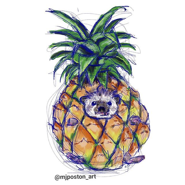 Im calling the pineapple hedgehog finished. I decided I liked the blue sketch lines this time and left them in. 🦔 🍍 🦔 Oh and its available on my print on demand sites, link in bio 🍍 🦔 🍍 #mjposton_art #pineapplehedgehog #pineapple #hedgehog #ipadart #ipad #procreate #instaart #instagood #surreal #animal #animalart #digitalart #cute #hedgehogsofinstagram