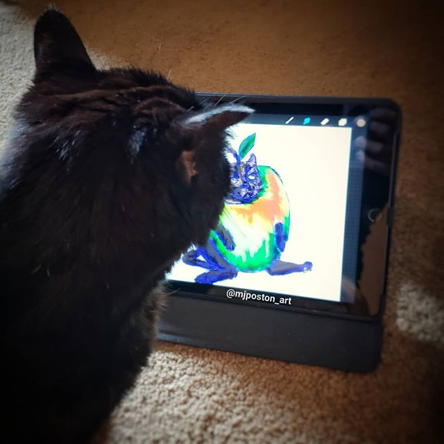 Got the inspiration model to check out the in process #catapple picture.... she mildly approved 🐱 . . .  #pnwcreatives #mjposton_art #illistratorsofinstagram #instaart #art #illustration #cat #catsofinstagram #housepanther  #blackcat #digitalart #ipadart #procreate #bts #artprocess
