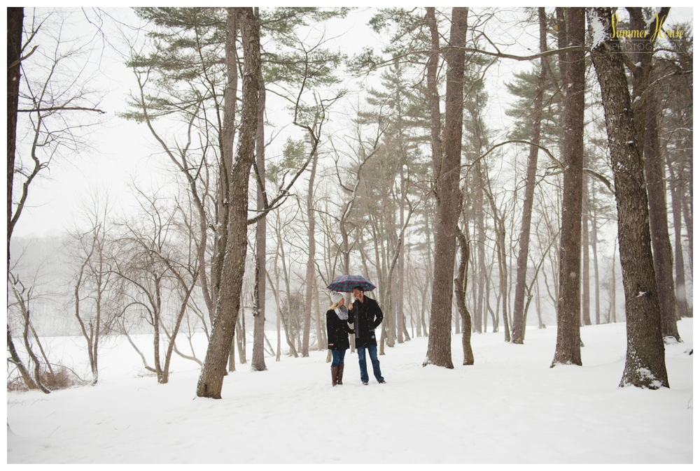 winter woods snow engagement