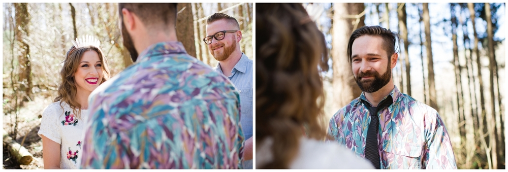 California elopement in woods boho