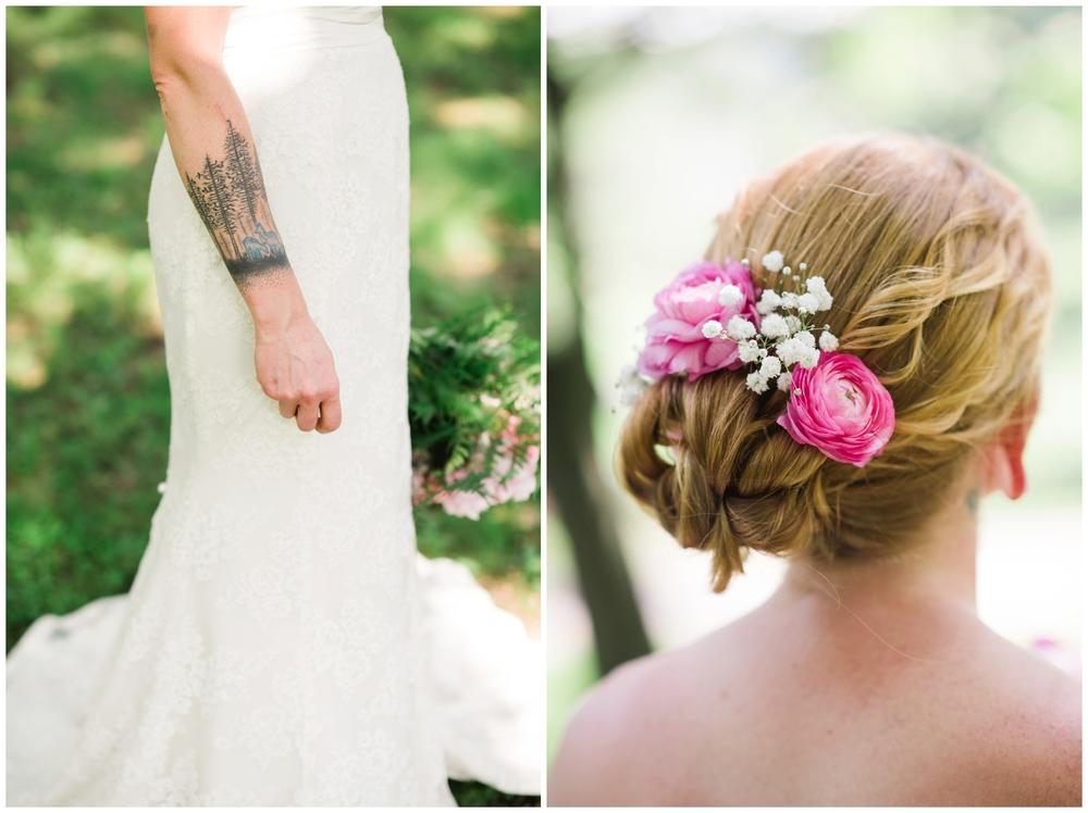 blooms in bridal hair