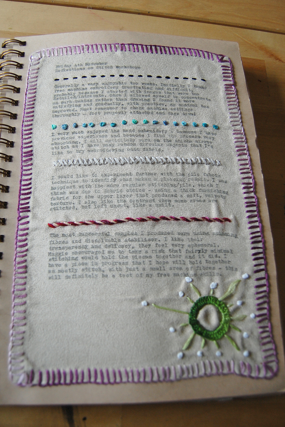 journal page for stitch workshops incorporating stitch sampler.