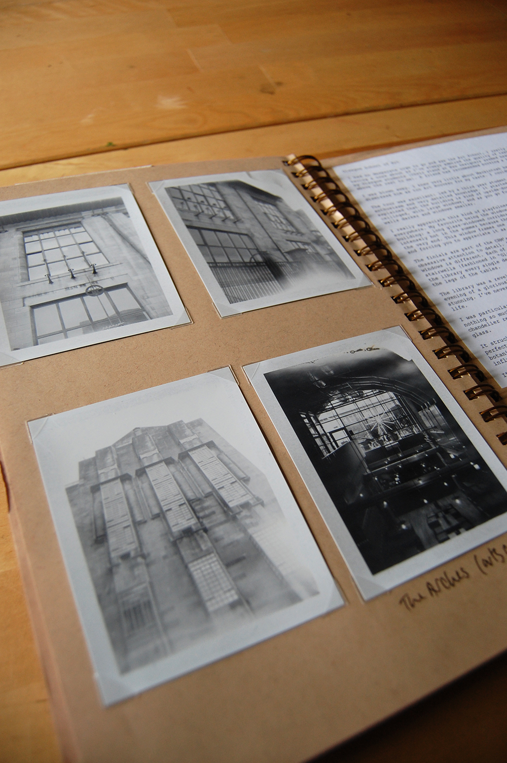 journal page for visit to glasgow. original polaroid photography of glasgow school of art and the arches arts centre.