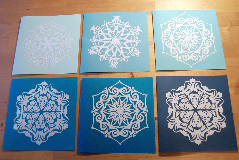 hand cut paper snowflakes